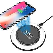 iPhone X / 8 / 8 Plus Caricabatterie Wireless, iVoler [Ultra Sottile e Portatile] Premium Qi Caricabatterie Senza Fili Wireless Charger Charging Pad con Indicatore LED per iPhone X / 8 / 8 Plus, Samsung S8/S8+/S7/S7 Edge/S6/S6 Edge, Note 5 / 8, Nexus 4 / 5 / 6 / 7 (2013), Nokia Lumia 920, LG Optimus Vu2, HTC 8X / Droid DNA e Tutti i Dispositivi Qi-Enabled (AC adattatore non incluso)