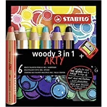 STABILO Multi Talented Pencil - Woody 3 In 1 Wallet of 6 Assorted Colours + Sharpener, EO8806-1-20