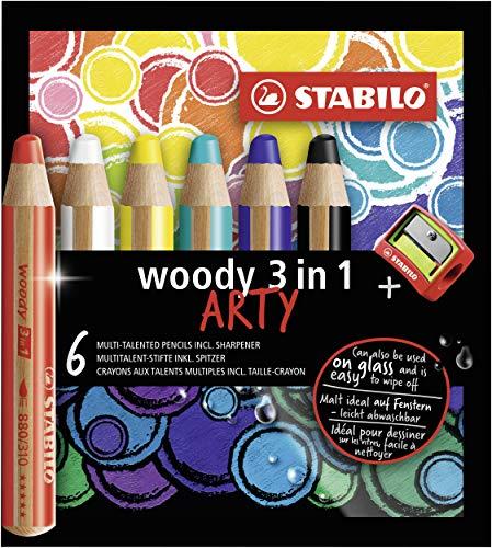 Matita colorata Multi-Funzione - STABILO woody 3 in 1 - ARTY - Astuccio da 6 - con Temperino - Colori assortiti