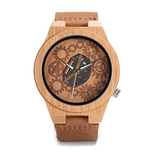 Bobo Bird Herren Bambus-Holz Armbanduhr *Gear* in Braun mit Echtem Lederarmband Handgefertigt Quarz Analog Uhr inkl. Geschenkbox