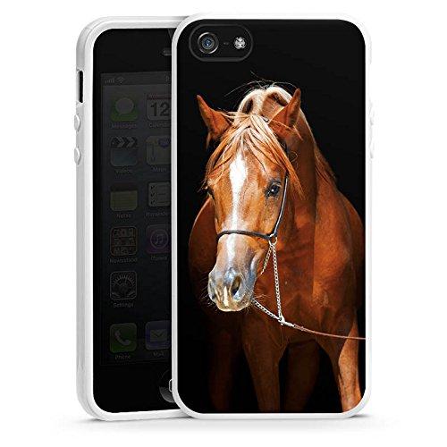 Apple iPhone 4 Housse Étui Silicone Coque Protection Cheval Cheval Jument étalon Housse en silicone blanc