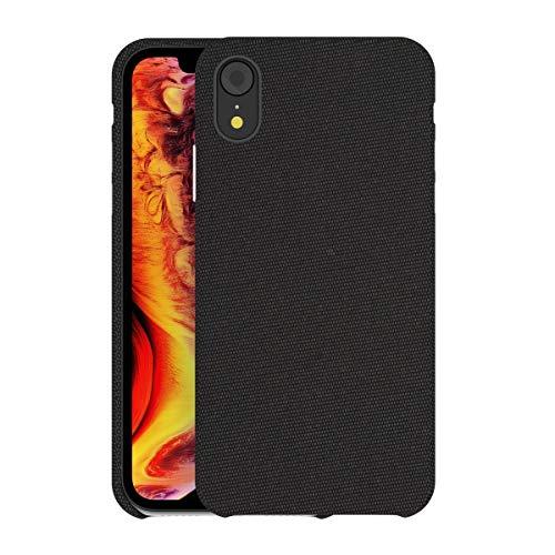 bb face Für iPhone XR hülle Stoff Rückseite Kunststoff-Schutzhülle unterstützt drahtlose Aufladung für iPhone XR (2018) 6,1 Zoll - Schwarz -