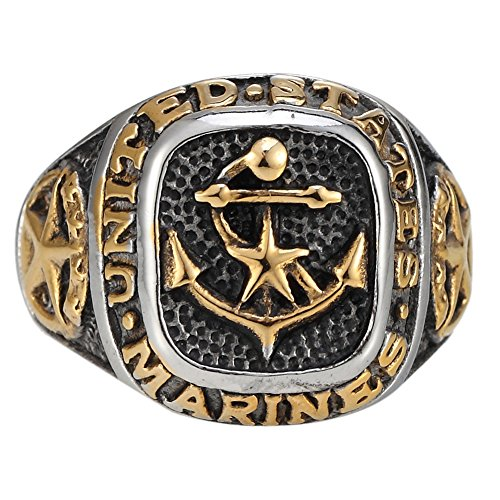 golden-anchor-star-military-stainless-steel-us-army-marines-biker-ring