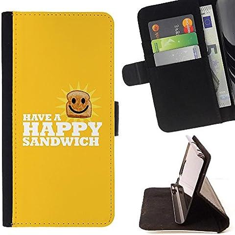 All Phone Most Case / Cellulare Smartphone cassa del cuoio della calotta di protezione di caso Custodia protettiva per SAMSUNG GALAXY C7 // Happy Sandwich - Funny Lol