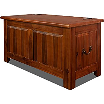 Wooden Storage Trunk End Of Bed Blanket Box 180Liter Dark Brown Acacia Wood  Chest Toy Bedding