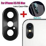 Für iPhone XS Max 6.5 Zoll / iPhone XS 5.8 Zoll Kameraschutz, Kamera Transparentes Schutzfolie,Ultra-klar Hohe Transparenz, Anti-Kratzen,Anti-Öl, Anti-Bläschen Displayschutzfolie mit Metall Rahmen (Schwarz)