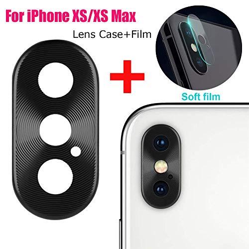 Fcostume Metall Rückfahrkamera Objektiv Hülle Schutzfolie + Film für iPhone XS/XS max (Schwarz)