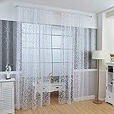 Y56 Transparent Vorhang Floral Schal Sheer Voile Tür Fenstervorhang Drapieren Panel Tüll Volants Divider Farbe Tulle Voile Vorhang Tür Fenster Vorhang Drape Panel Sheer Gardine (Weiß)