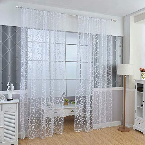 Y56 Transparent Vorhang Floral Schal Sheer Voile Tür Fenstervorhang Drapieren Panel Tüll Volants Divider Farbe Tulle Voile Vorhang Tür Fenster Vorhang Drape Panel Sheer Gardine (Weiß) -