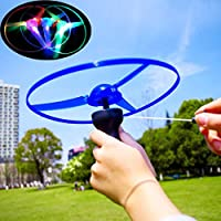 Winkey Toy for 3 4 5 6 7 8 9 + Years Old Kids Girls Boys, Funny Colorful Pull String UFO LED Light Up Flying Saucer Disc Kids Toy,Education Toys