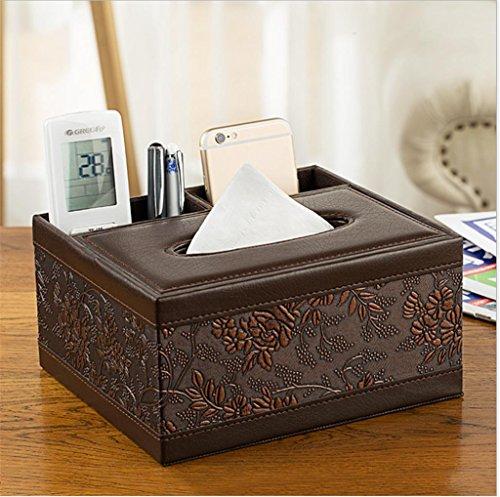 KKLL PU-Leder-Multifunktions Tissue Box Cover Desktop-Wohnzimmer Papierabdeckungs-Fall Fernbedienung Handy Aufbewahrung Box , 1 (Reich Handy-fällen)