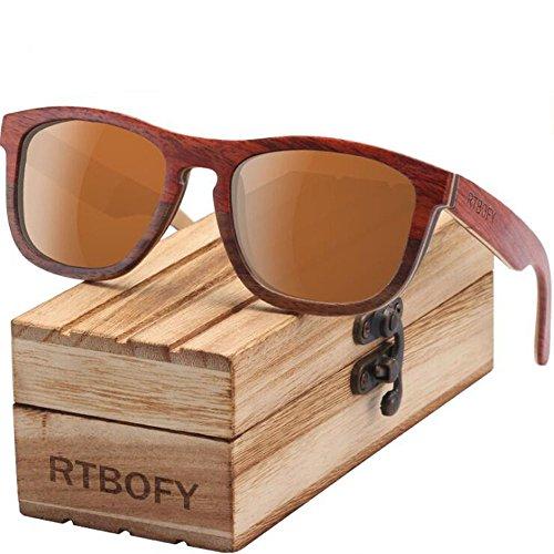 ANLW Polarisierte Sonnenbrille Handgemachte Hölzerne Bambus Sonnenbrille Retro Vintage Brille Aus Holz Sonnenbrillen Und Rahmen Gläser Mit Fall,C5
