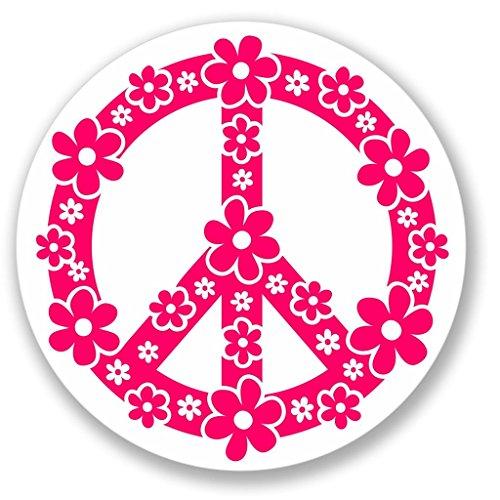 2 x 10cm/100mm Rosa blühenden Peace Symbol Vinyl SELBSTKLEBENDE STICKER Aufkleber Laptop reisen Gepäckwagen iPad Zeichen Spaß #4148 (Zeichen Symbol Peace Rosa)