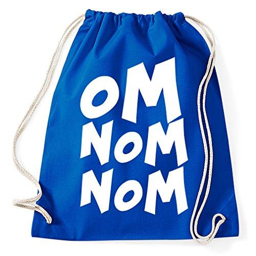 Om Nom Nom Cookie Monster Krümmelmonster Turnbeutel Sportbeutel Jutebeutel Rucksack Spruch Sprüche Hipster Design, royalblue (Cookie Monster Rucksack)