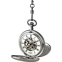 Rotary Stainless Steel Mechanical Pocket Watch & Chain with Skeleton Movement and White Dial. MP00726/01.