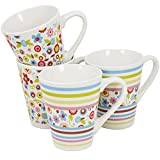 COM-FOUR® 4x Kaffeebecher farbig, Kaffeepott aus Keramik, Kaffeetasse mit buntem Muster, Kaffeepott, 290 ml (04 Stück - bunte Muster)