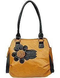 Fristo Stylish Flower 1 Women's Handbag(Tan And Black)