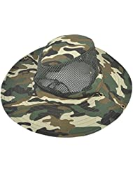sourcingmap® Correa de barbilla ajustable camuflaje diadema de malla transpirable Pesca Visor sombrero