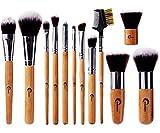 CHEREEKI Set di 12 Pennelli per Make-Up in Bambù Pennelli Naturali per il Trucco Spazzola di Trucco Cosmetico Professionale Brushes per Ombretto, Make Up Set con Borsetta da Viaggio immagine