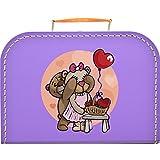 Pappkoffer mit Motiv Teddybären & Herzen im Korb 25 cm (lila)