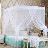 Bluelans® zanzariera a baldacchino per letto con quattro pali negli angoli, per letti singoli, matrimoniali, Queen o King, White, King size