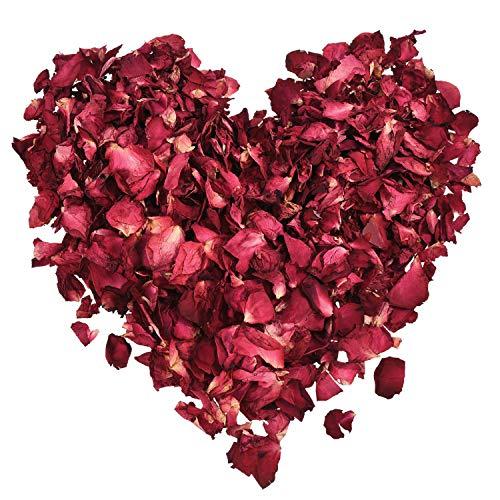 XCOZU Getrocknete Rosenblätter, 100 Gramm Natürliche Rote Rosen Echte Blume Rosenblatt Konfetti für Hochzeiten Fußbad Bad Party und DIY Handwerk Zubehör Biologisch Abbaubar -
