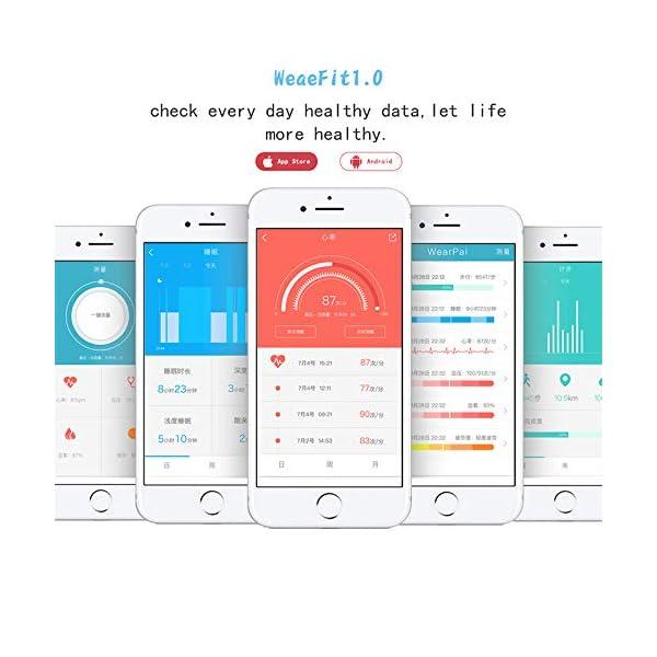 VEVICE - Pulsera de actividad, con control de ritmo cardíaco, contador de pasos, rastreador de actividad inteligente… 6