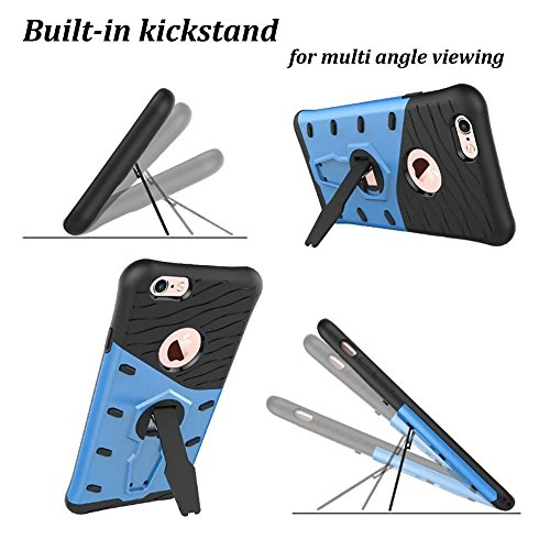 iPhone 6S Plus Case, Kickstand Hybrid Dual Layer Hard Cover + Soft Silikon Shockproof Drop Proof Rugged High Impact Protective Case Cover for iPhone 6S Plus/6PLUS–Black blau