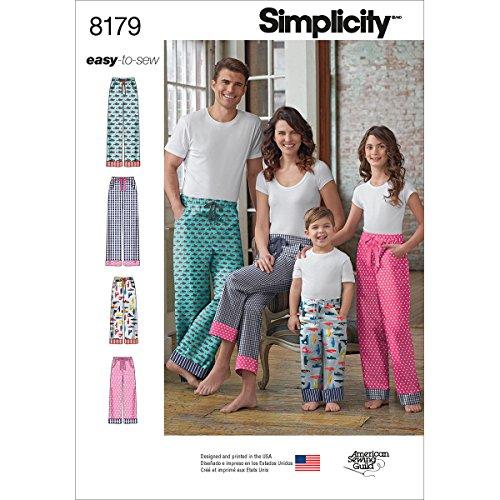 Simplicity Muster: 8179Kind, Teenager und Erwachsene Lounge Hose, weiß -