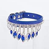 UD-strap Hundekragen Edelstein Blume Traktion Rope Haustier Hundehaufen Halsband Halskette S Blau