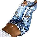 Damen Hose Frau Beiläufig Slim Fit Skinny Jeans YunYoud Frauen Mittlere Taille Denim Lange Hosen Loch Elastizität röhrenjeans Straight Leg Jeans (S, Blau)