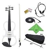 ammoon 4/4Ahorn Holz Violine Elektrische Geige Instrument Streichinstrumente mit Schutzhülle Kopfhörer Ebony Fittings Kabel für Musikliebhaber Anfänger weiß