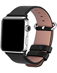 Apple Watch Correa, Fullmosa®Yan Series Apple Watch Pulsera de Piel Apple Watch Band Reemplazo de Reloj con Costuras Blancas y Cierre de Acero Inoxidable para Apple Watch iWatch Serie 1 Serie 2, 42mm, Negro
