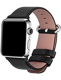 Apple Watch Armband 42mm, Fullmosa® Litschi Textur Hauptschicht Rindsleder Lederarmband mit Edelstahlschließe für Apple Watch Series 1 Series 2,Schwarz