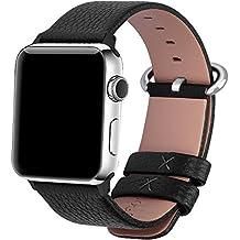 Apple Watch Cinturino, Fullmosa®Yan Serie Cinturino di Vera Pelle y Particella Sostituzione di Polso con Connettore Acciaio Inossidabile para Apple Watch iWatch Serie 1 Serie 2, 42mm, Nero