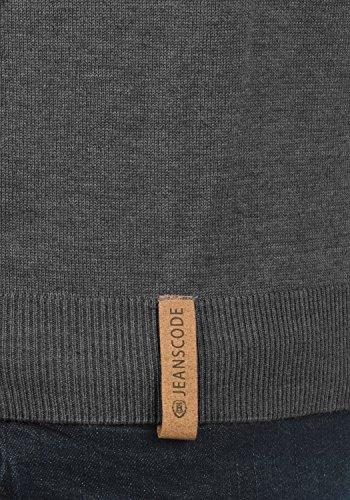 INDICODE Demarcus Herren Strickpullover Feinstrick-Pulli mit Rundhalsausschnitt aus hochwertiger Baumwollmischung Grey Mix (914)