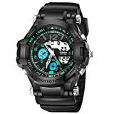 WMWMY Herren Sport Uhr Dual Monitor Analog Digital LED Elektronische Quarz Military Watch Armbanduhr Wasserdicht Wasser, Grün