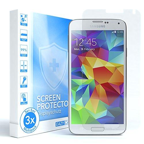 EAZY CASE 3X Panzerglas Displayschutz 9H Härte für Samsung Galaxy S5 / S5 Neo, nur 0,3 mm dick I Schutzglas aus gehärteter 2,5D Panzerglasfolie, Displayschutzglas, Transparent/Kristallklar