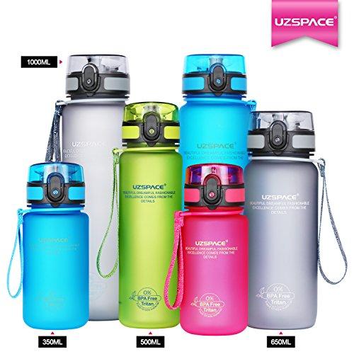 Uzspace Trinkflasche Tritan Wasserflasche - 350ml & 500ml &650ml & 1000ml - BPA-frei - Ideale Sportflasche - Schnelle Wasserdurchfluss - Sport, Wasser, Fahrrad