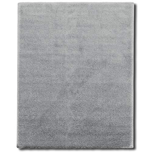 Tappeto salotto shaggy - tappeto pelo lungo (3 cm) e morbido, tappeti soggiorno, sala, interno casa, in diversi colori e misure - 160x230 cm - grigio chiaro