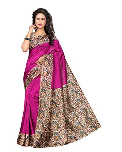 Winza Designer Silk Saree With Blouse Piece (KALAMKARI-K50_Beautiful Pink_Free Size)