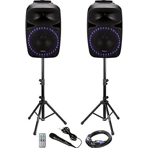 Price comparison product image Ibiza Sound Aktives PA-speaker-Set PKG12A Bluetooth, incl. microphone, Eingebauter Lichteffekt