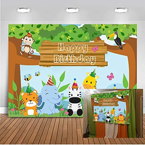 Thema, Happy Birthday Hintergrund, 17,8 x 152 cm, Hase 1. Geburtstag, Party, Banner für Fotografie Requisiten, Safari Birthday ()