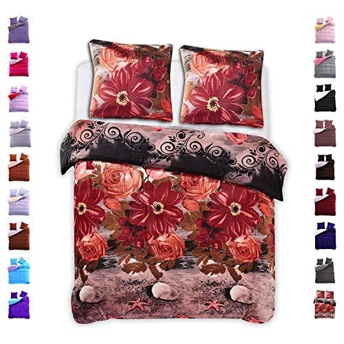 200x220 cm Bettwäsche mit 2 Kissenbezügen 80x80 Mikrofaser Weich Warm Winter Kuschelig Bettbezug Bettwäschegarnitur mit Blumenmuster schwarz rot grau orange Furry