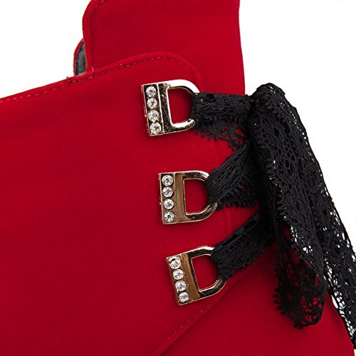AllhqFashion Damen Blend-Materialien Hoher Absatz Schließen Zehe Stiefel Rot-Lesbie