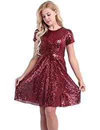 CHICTRY Womens Sequin Bridesmaid Dress Short Sleeves Evening Prom Dresses Formal Gowns
