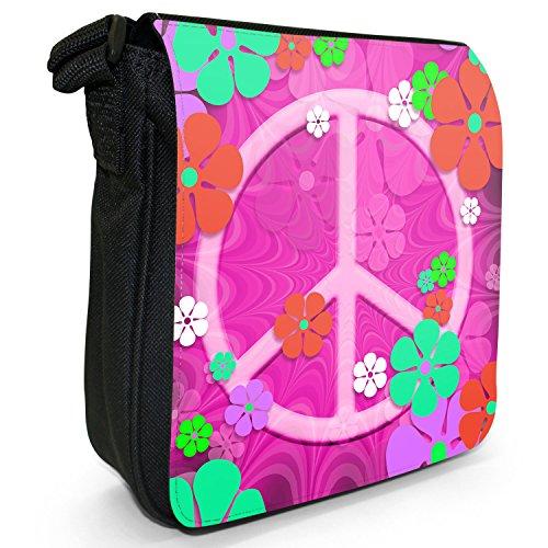 Motivo: fiori in stile Hippy con simbolo della pace in tela con tracolla, colore: nero, taglia: S Nero (Pink Flower Power Peace Sign)