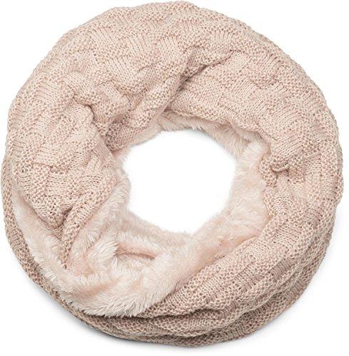 styleBREAKER warmer Feinstrick Loop Schal mit Flecht Muster und sehr weichem Fleece Innenfutter, Schlauchschal, Unisex 01018150, Farbe:Beige