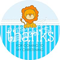 Personalised Delights Christening Boy Lion Sticker Labels (24 Stickers, 4.5cm Each) NON PERSONALISED Seals Ideal for Party Bags, Sweet Cones, Favours, Jars, Presentations Gift Boxes, Bottles, Crafts