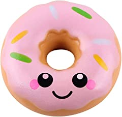 Voberry Slow Rising Toy, Lovely Doughnut Squishy Toy, Cream Scented Simulation Cute Squeeze Toys Gift Doughnut Pink